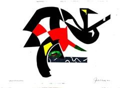 Laughed Heartily, abstract monotype, geometric, black, red, yellow.