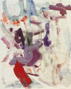 """Landscape #29"", gestural, abstract, painterly monotype red, violet, blue, gray."