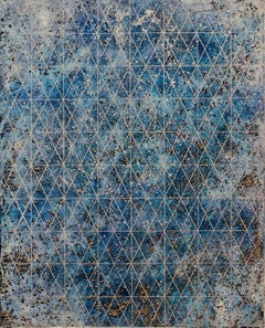 """Intersection/Cosmos 5"", abstract geometric monotype, blues, gold, silver grid."