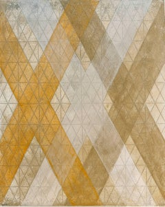 """""""Intersection/Cosmos 6"""", abstract geometric monotype, gold, orange, silver grid."""