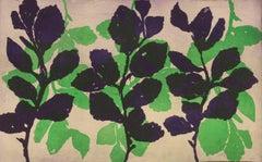 Golden Treasures 18, abstract aquatint plant-study monotype, green, deep violet.