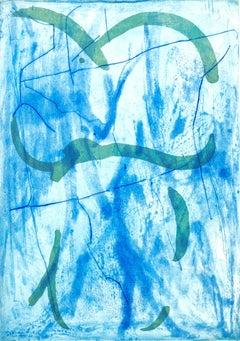 """Heart Tied on, Blues"", abstract calligraphic aquatint, spit bite blue, green."