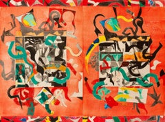 """""""Loose Laughter"""", large abstract geometric monoprint, red, green, black."""