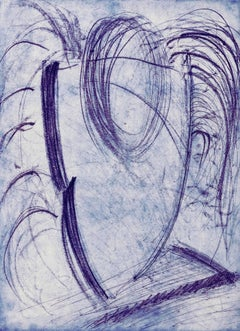 """Me Be Blue"", abstract calligraphic soft ground etching, aquatint, blue, violet."
