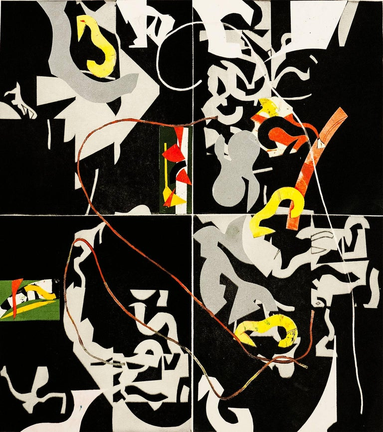 """Slow Grace"", modern abstract, geometric aquatint monoprint, black, yellow, red."