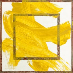 """REO 3"", expressionistic painting on paper, geometric, yellow, blue grey."