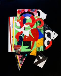 """""""Staples #6"""", abstract collaged monoprint, geometric, black, red, yellow, green."""
