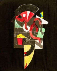 Staples #20, abstract collaged monotype, modernist, black, red, yellow, green.