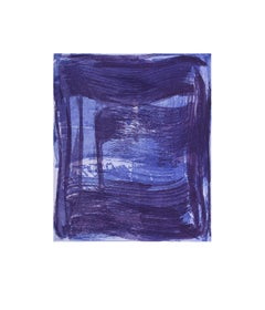 Broad Strokes 1, gestural abstract aquatint monotype, layered deep blue, violet.