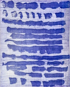 """""""October 4"""", painterly abstract aquatint monotype, blue and violet tones."""