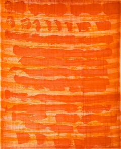 October 6, painterly abstract aquatint  monotype, red, orange, vermillion tones.
