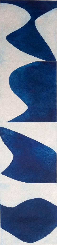 """""""Prussian Blue 2"""", abstract aquatint monotype, Japanese scroll, deep blue,."""