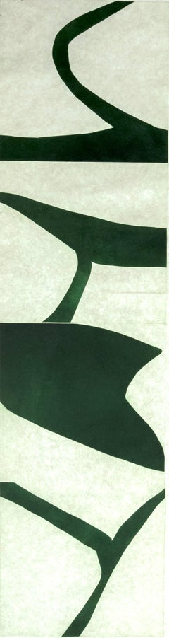 """Terre Verte 1"", graphic modernist scroll-like abstract monoprint, deep green."