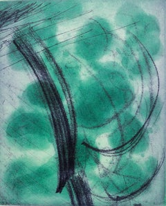 So Much Green, abstract etching, spit bite, blue, calligraphic, Asian influence.