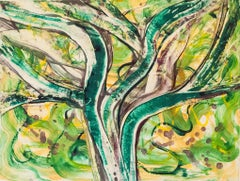 Imagined Possibilities 11, abstract tree monoprint, viridian, spring greens.