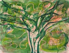 """Imagined Possibilities 12"", abstract tree monoprint, green, pink, ochre tones."