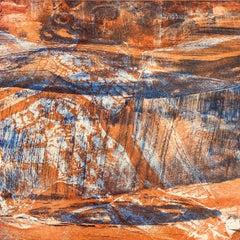 Shandaken 13 Catskill mountain abstract landscape print, layers blue and orange.