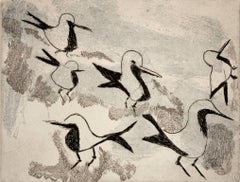 """Plovers on the Mara"", etching, aquatint, African wildlife, blue and black."
