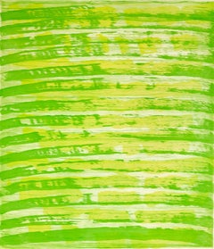 """""""October 23"""", painterly abstract aquatint monotype, layered yellow and green."""