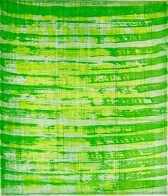 """October 25"", painterly abstract aquatint monoprint, yellow, spring green."