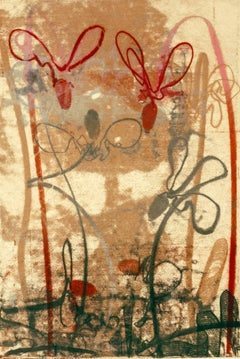 Flowerage with Blue #5, landscape inspired monotype, layered red, pink, ochre.