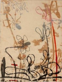 """Flowerage with Blue #4"", landscape inspired monotype, layered red, pink, ochre."