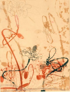 Flowerage with Blue #3, landscape inspired monotype, layered red, pink, ochre.