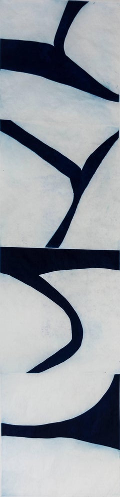 Prussian Blue 4, abstract etched modernist monotype, Japanese scroll, deep blue.