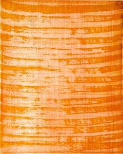 """October 20"", painterly abstract aquatint monotype, pink, orange, vermillion."