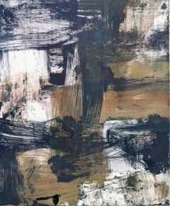 July Series #40, painterly gestural abstract monotype, ochre, blue black, violet