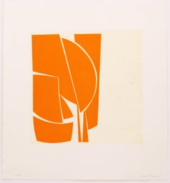 Covers 1 Orange, abstract aquatint, mid-century modern influenced, yellow orange