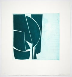 Covers 1 Viridian, abstract aquatint, mid-century modern influenced, deep green.
