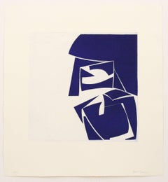 Covers 3 Ultramarine, abstract aquatint, mid-century modern influenced, deepblue
