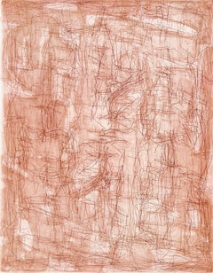 With Or Without You, abstract linear etching, aquatint, monotype, sanguine, red.