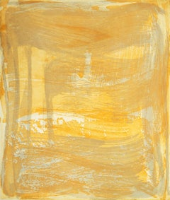 Broad Strokes 7, gestural abstract aquatint monotype, layered yellow, silver.