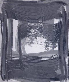 Broad Strokes 9, gestural abstract aquatint monotype, layered in blue, silver.