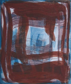 """Thick and Thin 2"", gestural abstract aquatint monotype, deep red, turquoise."