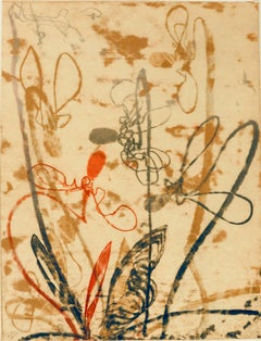 """""""Flowerage with Blue #2"""", abstract landscape monotype, red, ochre, graphite."""