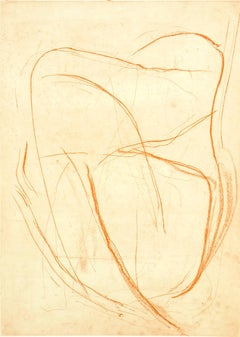 """Ms. Spring Child in Vermillion"", abstract soft ground etching, vermillion red."