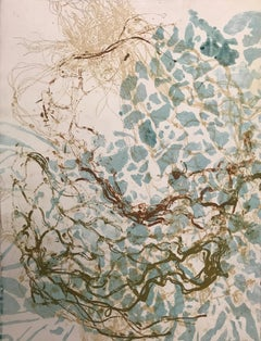 """Liquid Music 8"" abstract waterscape monotype, soft ground etching."