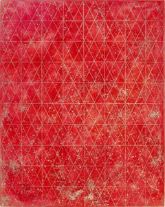 Intersections/Cosmos 18, abstract geometric print, red, metallic gold, silver
