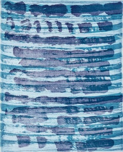 """October 19"", painterly abstract monotype, turquoise, ultramarine blue."