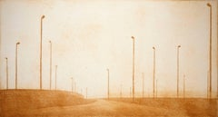 """Industrial Williamsburg #13"", urban landscape etching, ochre, New York City."