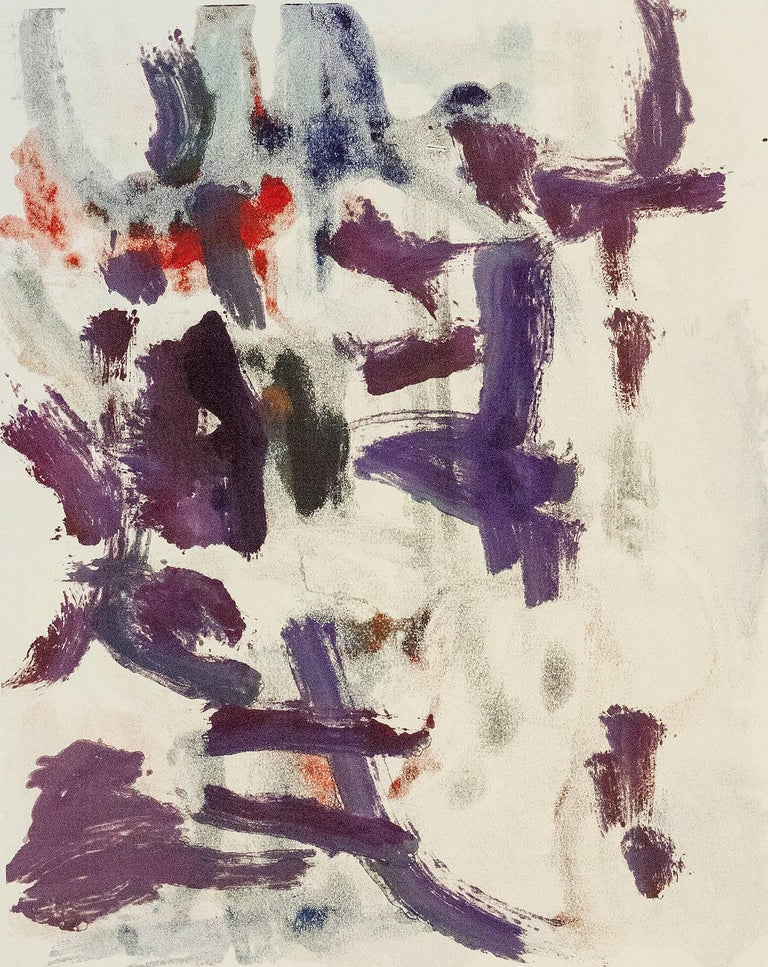 Landscape #27, gestural, abstract, painterly monoprint red, violet, blue, black.