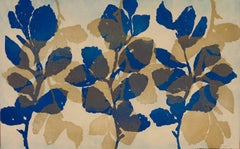 """Golden Treasures 11"", abstract aquatint plant-study monotype print, blue, gold."