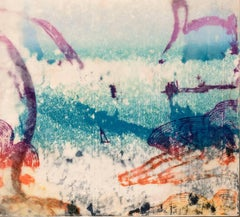 """Sea Shoals #2"", abstract landscape monoprint in magenta, orange, turquoise."