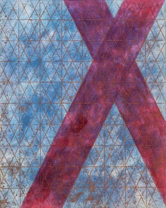 """""""Intersections/Cosmos 16"""", abstract geometric monoprint, blue, red, silver grid."""