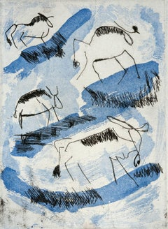 """Wildebeast Migration"", African wildlife, etching, aquatint print, blue, black."
