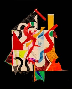 """""""Staples Five"""", abstract collaged print, geometric, black, red, yellow, green."""