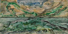 """Every Breaking Wave 17"", abstract landscape monoprint, green, blue, ochre."